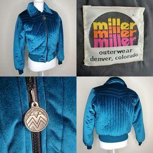 Vintage Velvet Ski Bomber Jacket Blue Miller Med.